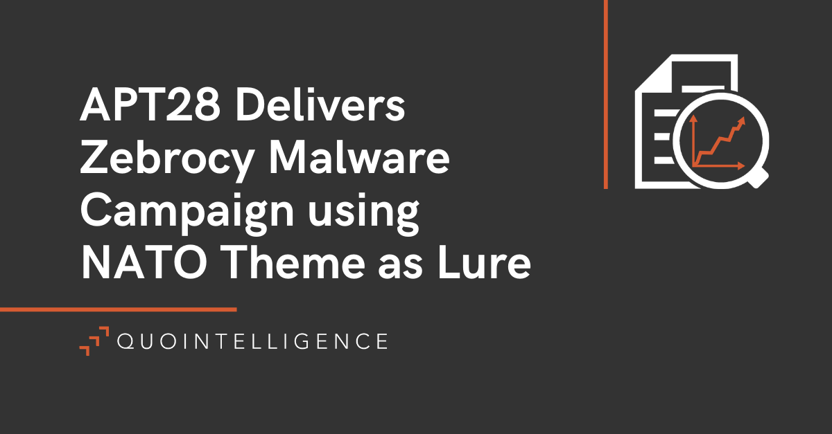 APT28 Delivers Zebrocy Malware Campaign Using NATO Theme as Lure