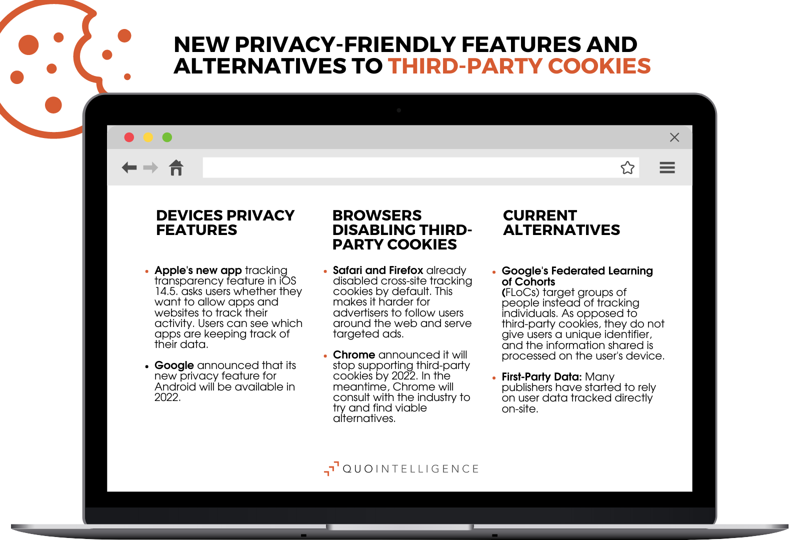 Infographic on current third-party cookies alternatives for more user- and privacy friendly browsing