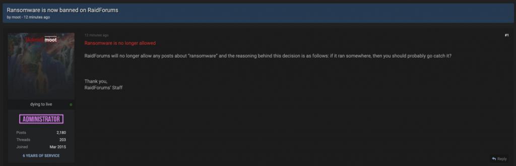 Screenshot of RaidForums announcing the ban of ransomware content