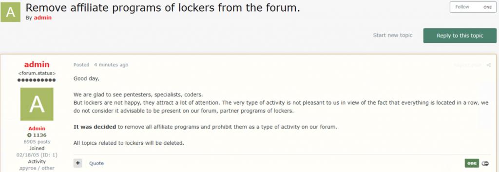 Screenshot of ransomware ban in Exploit forum