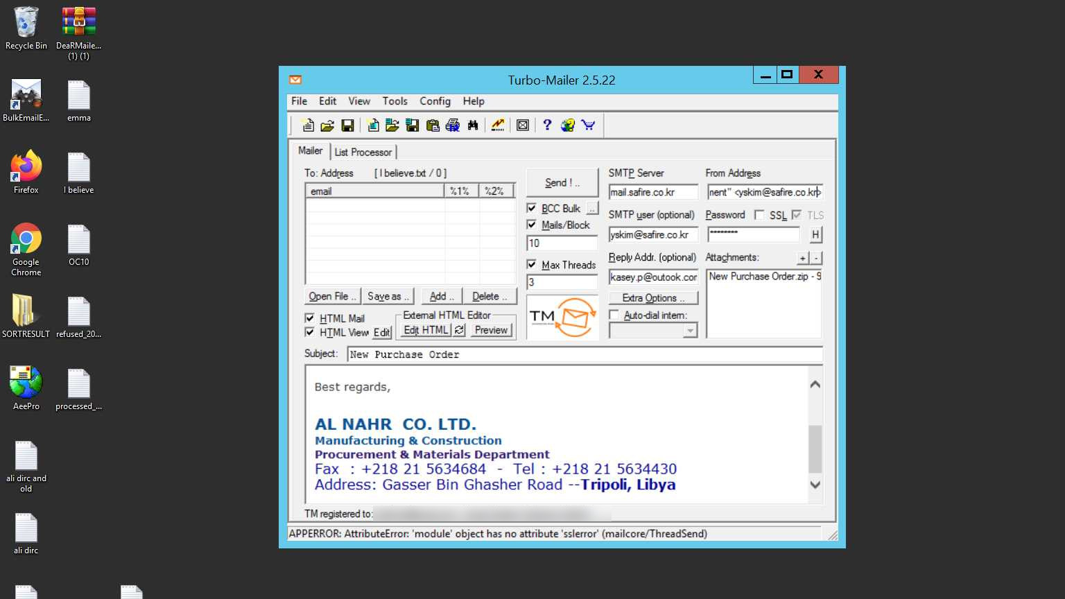 Screenshots Turbomailer – both used by the Nigerian eCrime gang E.K.P.