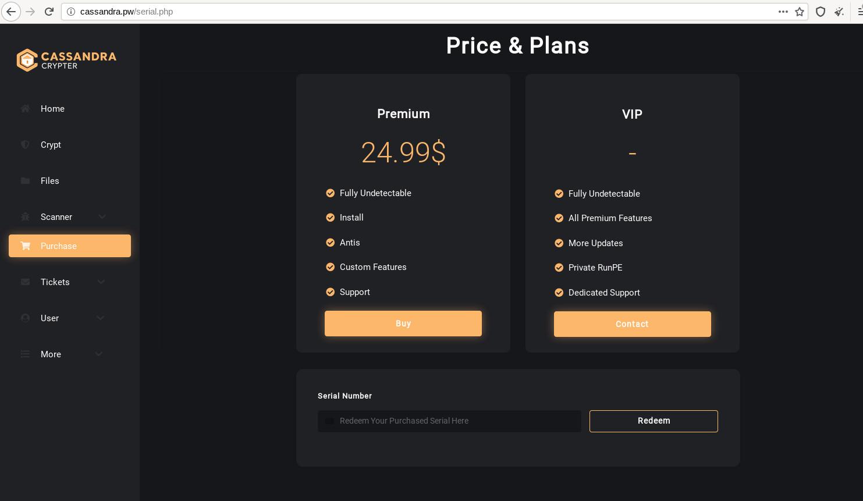 Screenshot of Cassandra Crypter Service Plan & Pricing