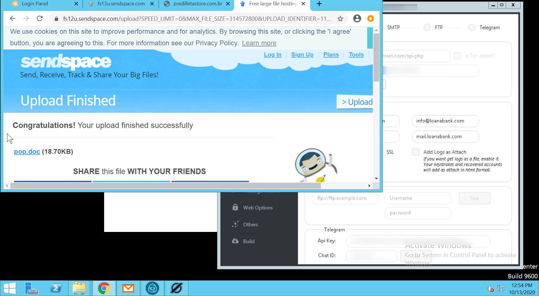 Screenshots of Sendspace